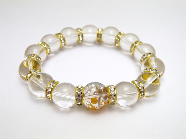 水晶 14mm 金彫皇帝龍×銀彫鳳凰 二体一対水晶 3P ブレスレット 天然石 パワーストーン