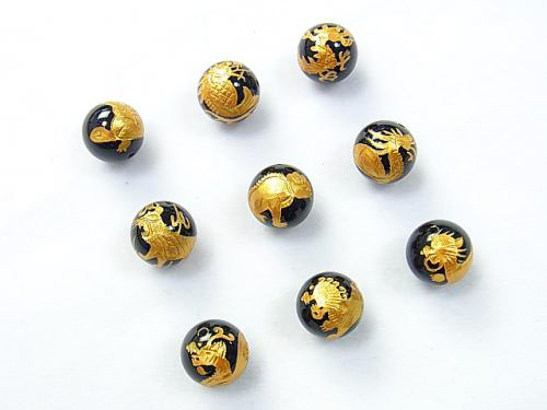 オニキス14mm 金彫り 龍の九匹の子供 龍生九子【セット売り】天然石 パワーストーン