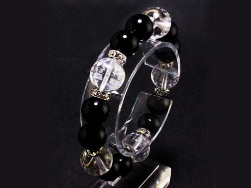 水晶 素彫り 般若心經 ブレスレット オニキス 天然石 パワーストーン