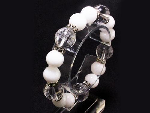 水晶 素彫り 般若心經 ブレスレット 白玉 天然石 パワーストーン