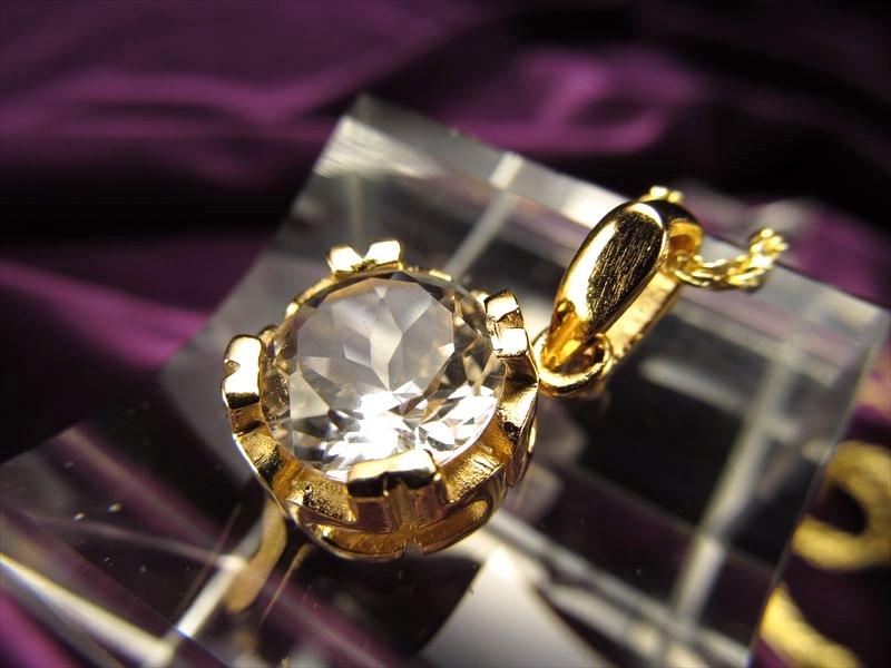 5Aハーキマーダイアモンド 極上カットペンダント Gold 石サイズ約10mm【ニューヨーク州ハーキマー地区産】