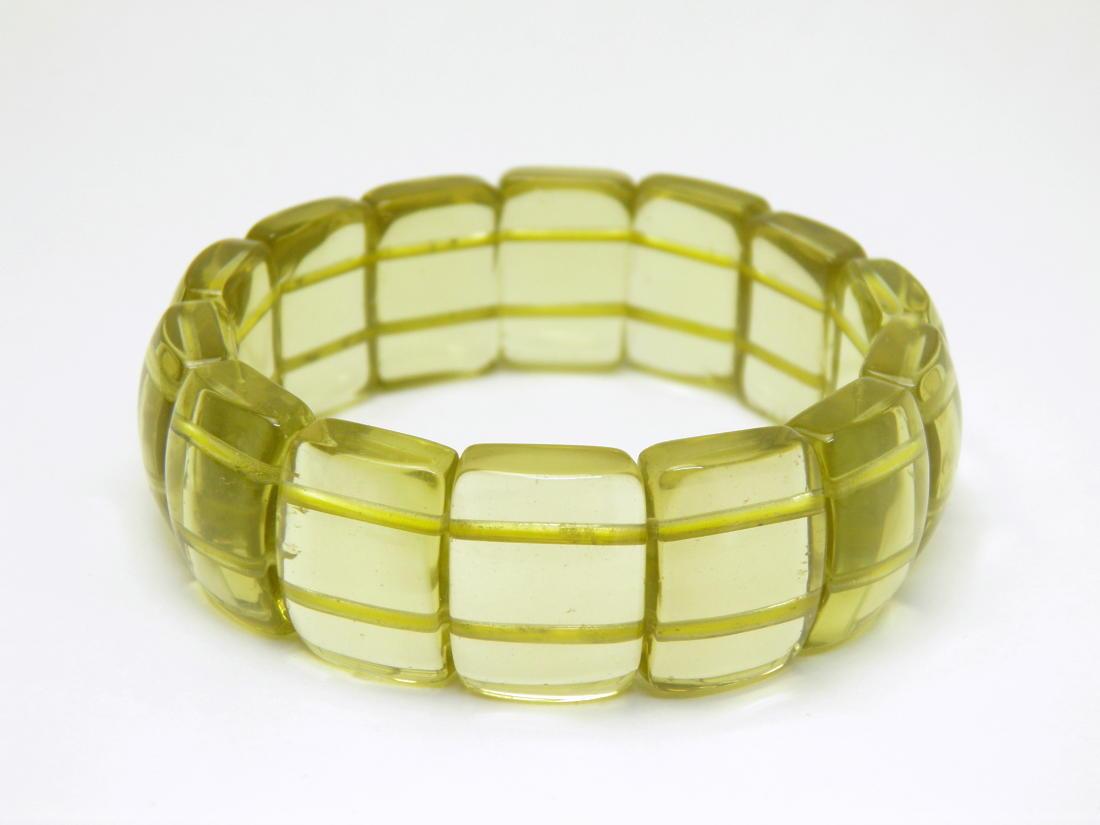 レモンクォーツ 硫黄水晶 バングルブレスレット マダガスカル産 パワーストーン 天然石 数珠ブレスレット