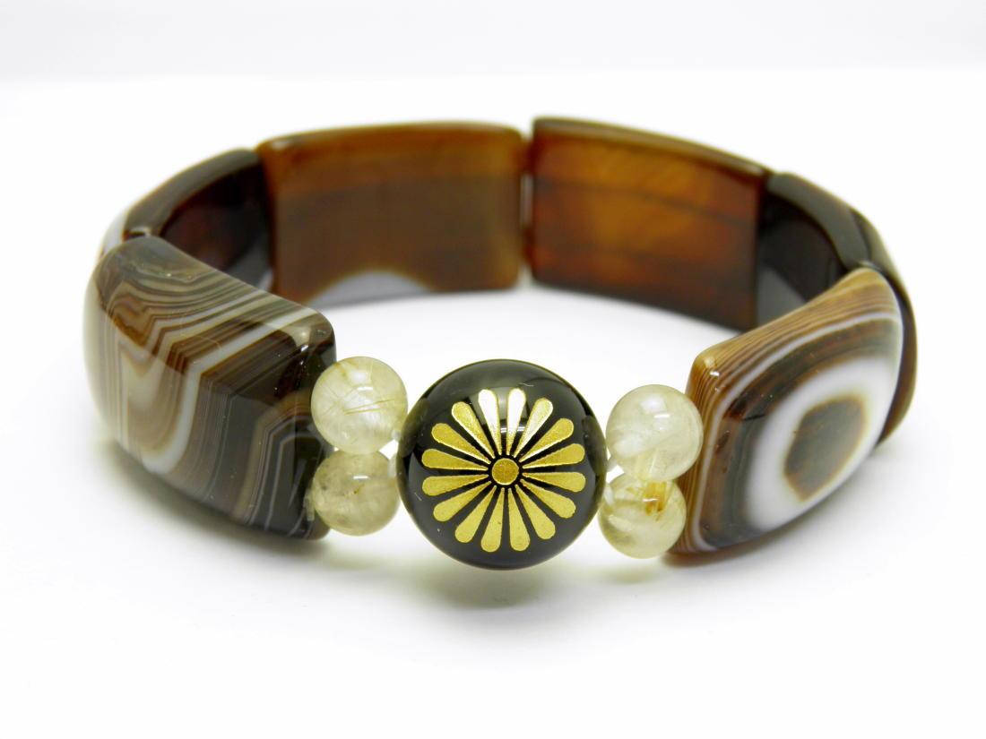 Imperialarts 菊紋章 オニキス 金彫り16mm玉 バングル パワーストーン ブレスレット 天然石 パワーストーン
