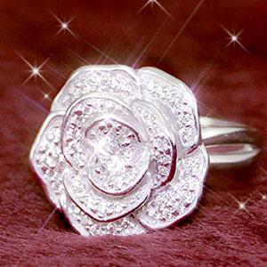 ジルコニア リング レディース 指輪 キュービックジルコニア 期間限定今なら送料無料 リュクシーローズリング メール便送料無料 在庫あり時即納 光の薔薇が咲き誇る ☆ラグジュアリーな銀の大輪 特価品コーナー☆