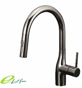 ###KVK KM6061ZECBN [送料無料]流し台用シングルレバー式シャワー付混合栓 黒ニッケルめっき 寒冷地仕様