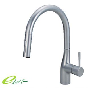 ###KVK KM6061ECP [送料無料]流し台用シングルレバー式シャワー付混合栓 パール調めっき