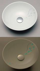 ###KVK KV02A [送料無料]美術工芸手洗鉢 天草陶石 フローライト せせらぎ/プレーン