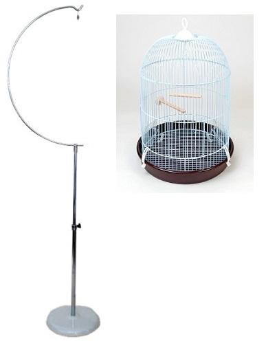 カナリアのドリームハウス 丸かご+半月スタンドL / カナリア フィンチ 鳥かご 丸型