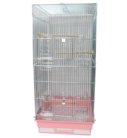 鳥かご HOEI 35ロング 底カラー:ピンク(組立サイズ:370x415x760mm)【送料無料】