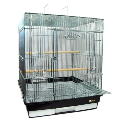 鳥かご HOEI 465インコ手のり 底カラー:ブラック(組立サイズ:465x465x565mm)【送料無料】