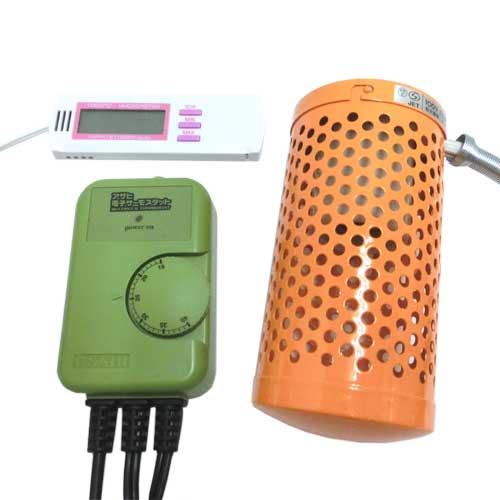 電子サーモスタット+ミニペットヒーター30W+マルチ湿・温度計 3点保温セット【送料無料】