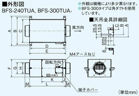 三菱電機空調用送風機ストレートシロッコファン天吊埋込タイプ消音形BFS-240TUA(BFS240TUA)