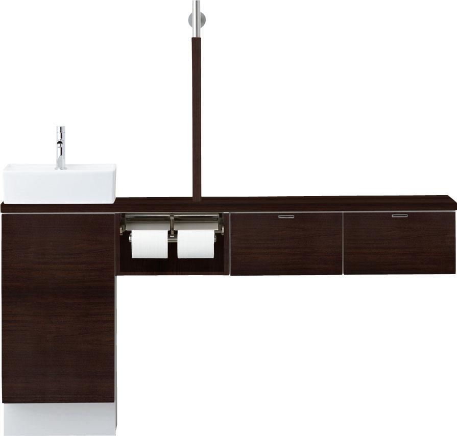 LIXIL INAX トイレ手洗 キャパシア セミフロートキャビネットプラン(カウンター奥行き280)手すり付