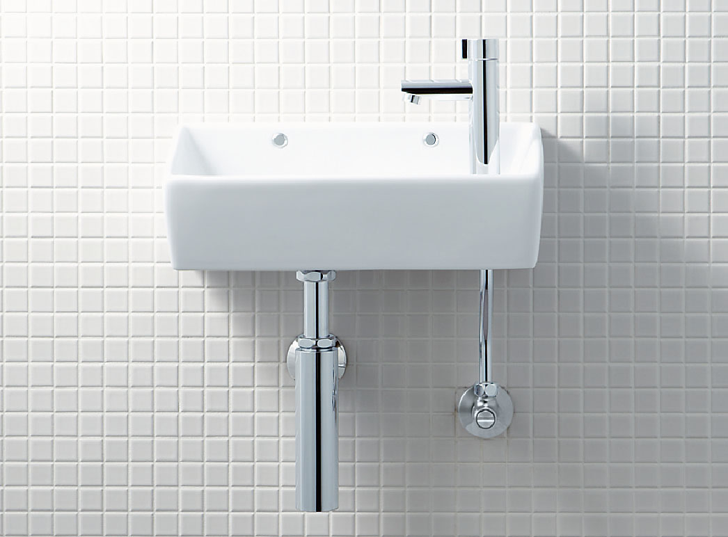 LIXIL INAX 壁付手洗器 (ハンドル式水栓) 床給水・壁排水(ボトルトラップ) L-A35HH YL-A35HH