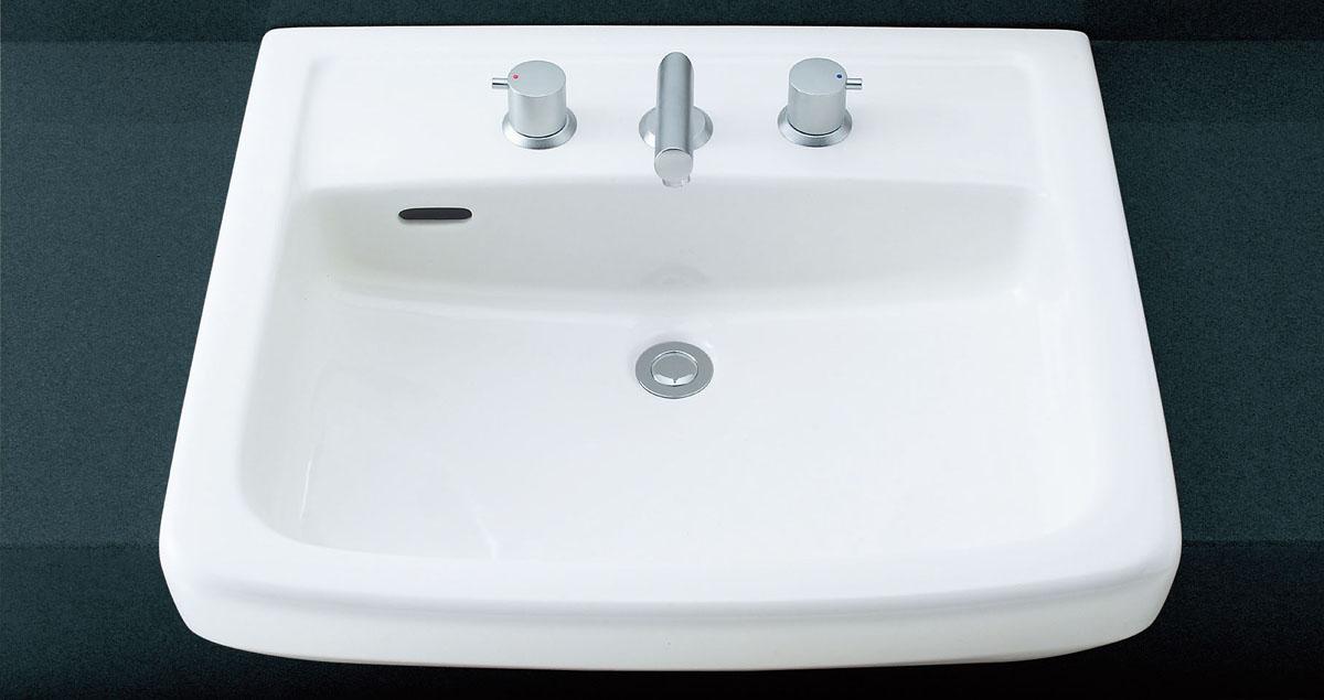 LIXIL INAX オーバーカウンター式洗面器 (2ハンドル混合水栓セット) L-2149CD + LF-E130B/SE