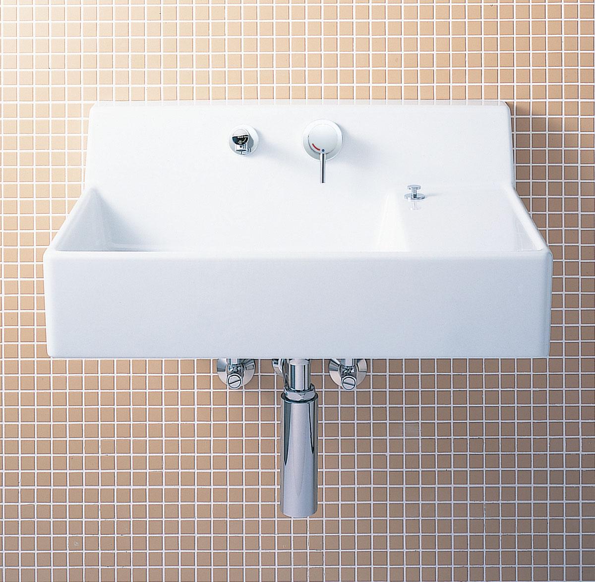 贅沢品 LIXIL INAX サティス洗面器(YL-537タイプ) 壁付式 床排水(ボトルトラップ) YL-A537TP(C) YL-A537TQ(C):アクアshop-木材・建築資材・設備