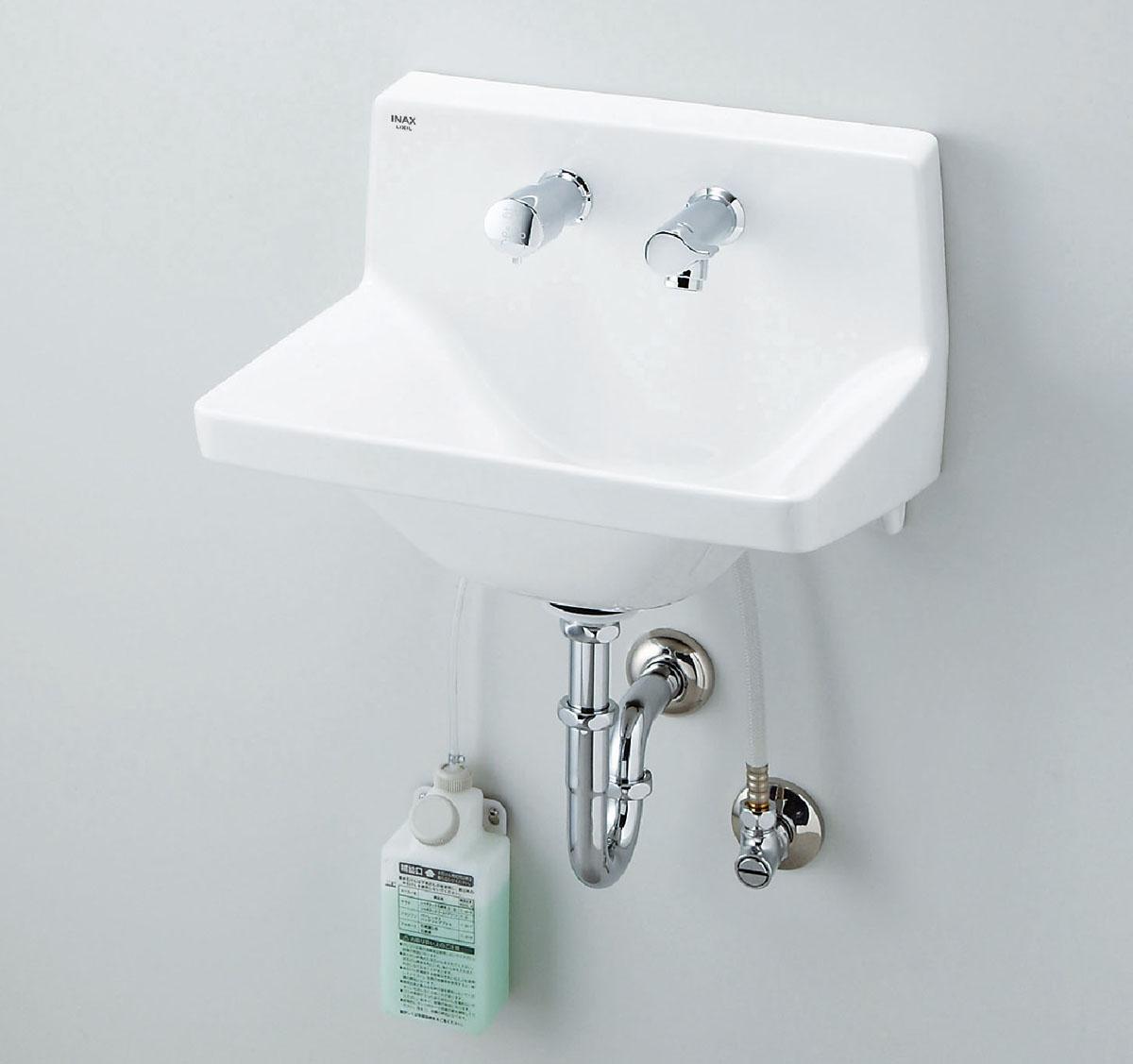 LIXIL INAX ハイバックガード洗面器(コンパクトタイプ)ハンドル水栓+水石けん供給栓セット L-A951H2D L-A951H2B