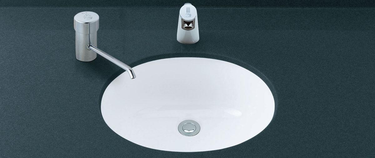 LIXIL INAX アンダーカウンター式洗面器(自動水栓セット) L-2291 + AM-200