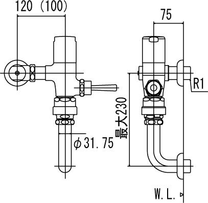 洗浄水量10-15L用 INAX CF-510SK7(100) フラッシュバルブ 節水形 LIXIL