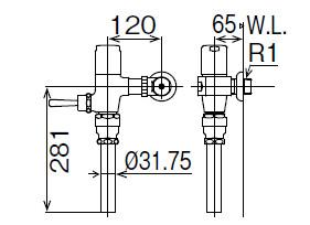 LIXIL INAX フラッシュバルブ 洗浄水量6-8L用 節水形 CF-T6112