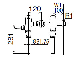 LIXIL INAX フラッシュバルブ 洗浄水量10-15L用 節水形 CF-5110U