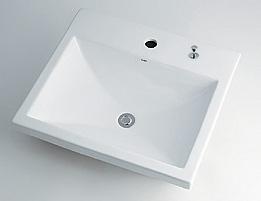 カクダイ LUJU リュウジュ 角型洗面器1ホール・ポップアップ穴付き 493-003H