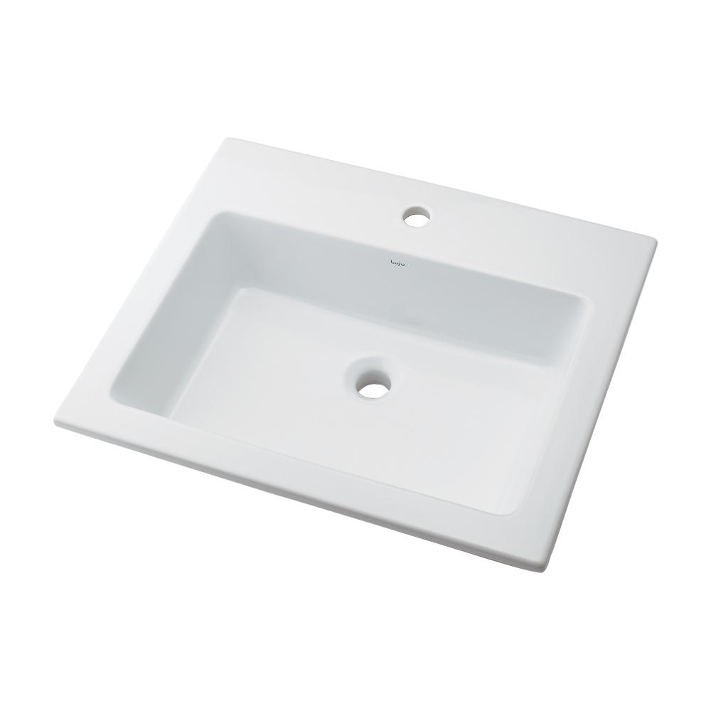 カクダイ LUJU リュウジュ 角型洗面器 1ホール 493-008