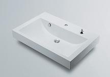カクダイ CORPOSO コルポーゾ 角型洗面器1ホール ポップアップ穴付き 493-070-750H