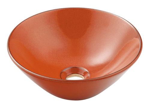 カクダイ 瑠珠(りゅうじゅ) 丸型手洗器(鉄赤) 493-011-R