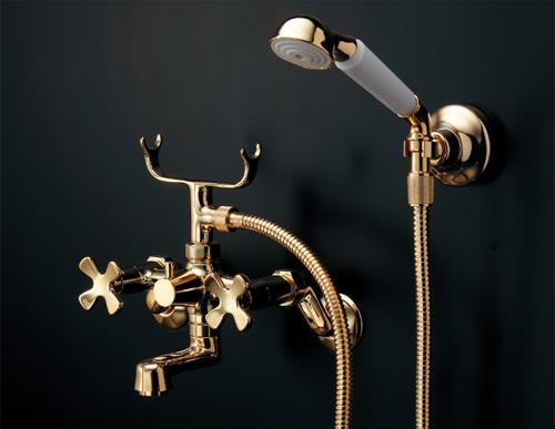 カクダイ 2ハンドルシャワー混合栓(ゴールド) hana(はな) 133-505-G