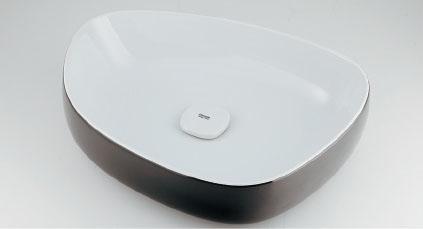 カクダイ Olympia(オリンピア) 洗面器(ホワイト/ブラック) #LY-493210WD
