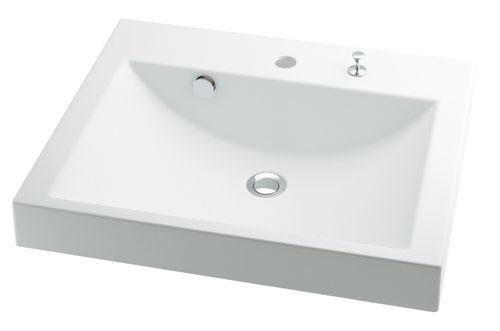 カクダイ CORPOSO コルポーゾ 角型洗面器(ポップアップ独立つまみタイプ) 493-072H