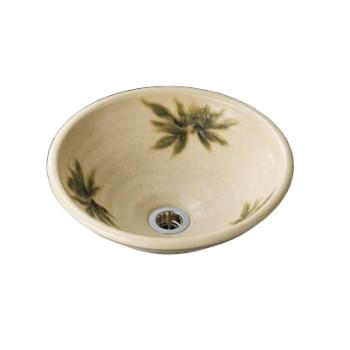水生活製作所 手洗鉢 美濃焼 黄瀬戸南天(きぜとなんてん) Lサイズ TM13ML