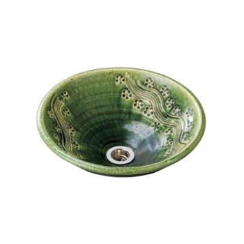 水生活製作所 手洗鉢 美濃焼 織部彫刻(おりべちょうこく) Lサイズ TM13CL