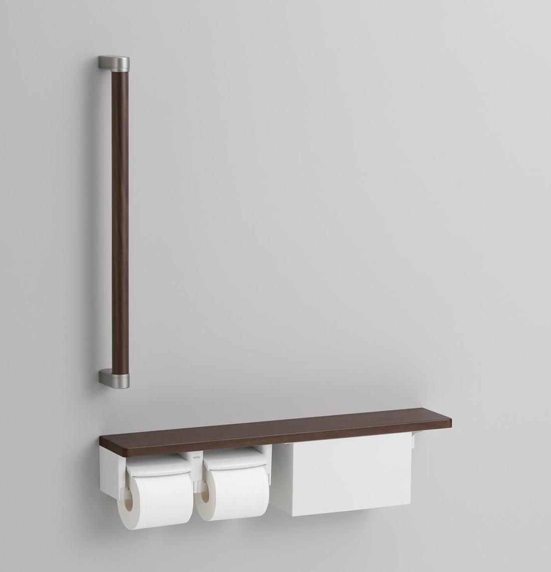 TOTO 新作送料無料 紙巻器一体型 木製手すり 激安セール YHBS603FB 収納付 棚別体タイプ
