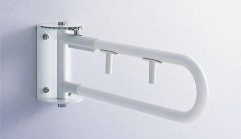 TOTO パブリック用手すり 腰掛便器用手すり(可動式) スイングタイプ(ダブルレバー付) 樹脂被覆タイプ 800mm 握り径Φ34 T112CSW8N