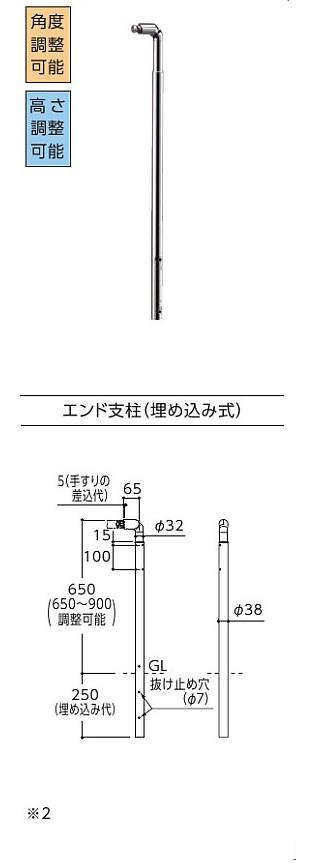TOTO 住宅用屋外手すり エンド支柱(埋め込み式) TS139SE2S