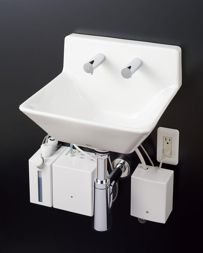 贅沢 TOTO 壁掛ハイバック洗面器 自動水栓(サーモ・発電) 自動水石けん供給栓(1.0L) 壁排水(ボトルトラップ) LSD125CC:アクアshop-木材・建築資材・設備
