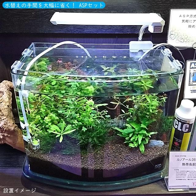 ASPセット 熱帯魚用 ルノアール360LED【当店オリジナル水槽セット】(セット内容:水槽 照明 ろ過材 フィルター ヒーター 水温計 フード 水質調整剤3点セット)
