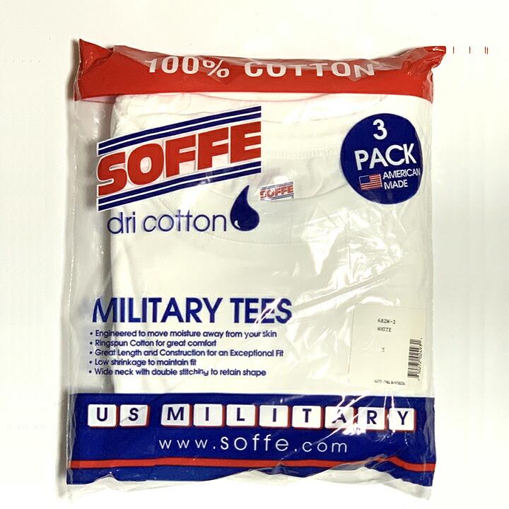 ソフィー SOFFE/#682M-3 コットン100% ミリタリーTシャツ 3-PACK MILITARY TEES (WHITE) (L)