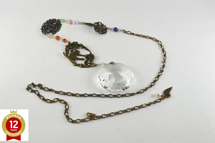 サンキャッチャー(猫のモチーフとクリスタルガラス)