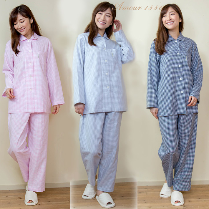 Gingham check two folds gauze Lady s pajamas (woman   top and bottom set    roomware   nightclothes   cotton   cotton   hospitalization   gift    present ... 9c72b5dd5