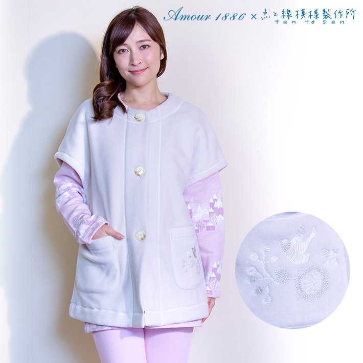 【Amour1886】×【点と線模様製作所】ポケットに【バードガーデン】の刺繍がある無地ベスト