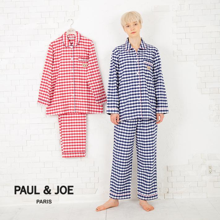 【PAUL&JOE PARIS room wear】ポールアンドジョー ルームウェア 先染 ネル チェック ロングスリーブシャツ セットアップ