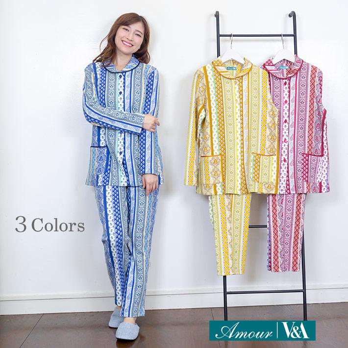 ヨーロッパ風ペイズリー柄エイトロックパジャマ【V&A】