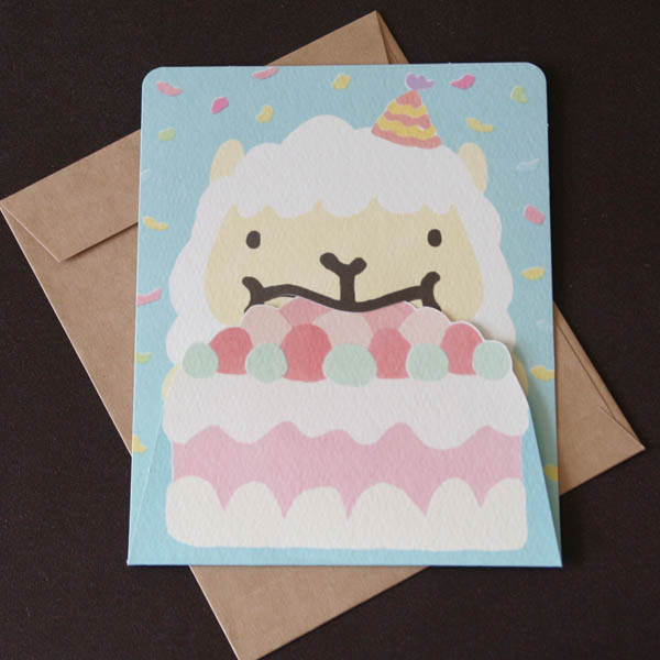 Birthday Card Alpaca With A Cake Happy