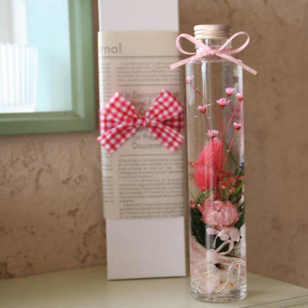 「ハーバリウム・スリム」標本風お花のアレンジメント(ピンク)~シルバーデージー・ポアプランツ・スターフラワー・カスミソウ~