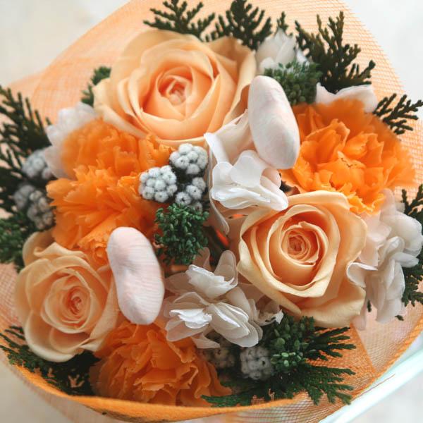 """Orange Heart""(オレンジハート)ハートのピックが愛らしいプリザーブドフラワーのブーケ【楽ギフ_包装】【楽ギフ_メッセ入力】 【母の日ギフト・ホワイトデー・結婚・誕生日・合格・卒業・退職・入学・就職・お祝い・お礼に】"