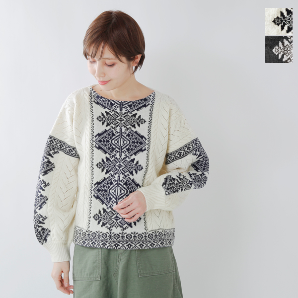 d8ce778d51 aranciato  cardo fabrica (カルドファブリカ) lamb s wool jacquard openwork boat neck  puff sleeve knit pullover 34-01-kn-023-18-2-fn