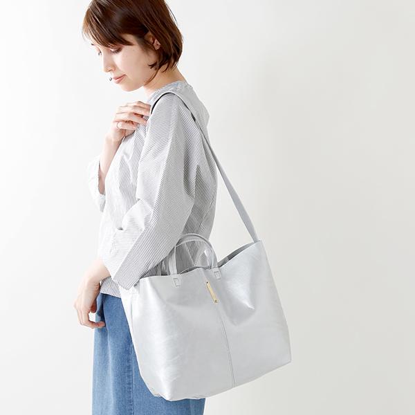 【ラクーポン対象】yucchino(ユッキーノ)OTONA eco-bag レザーショルダーバッグS メタリックシルバー otona-eco-bag-shs-12800-yh